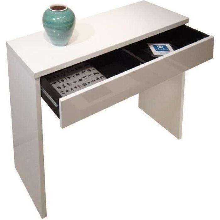 ARENA Console style contemporain blanc brillant - L 109 cm