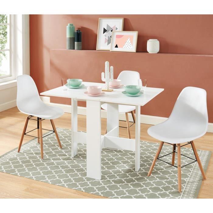 JUNO Table de séjour extensible pliante - 4 personnes - Décor blanc- L 104 x 76 x 74 cm