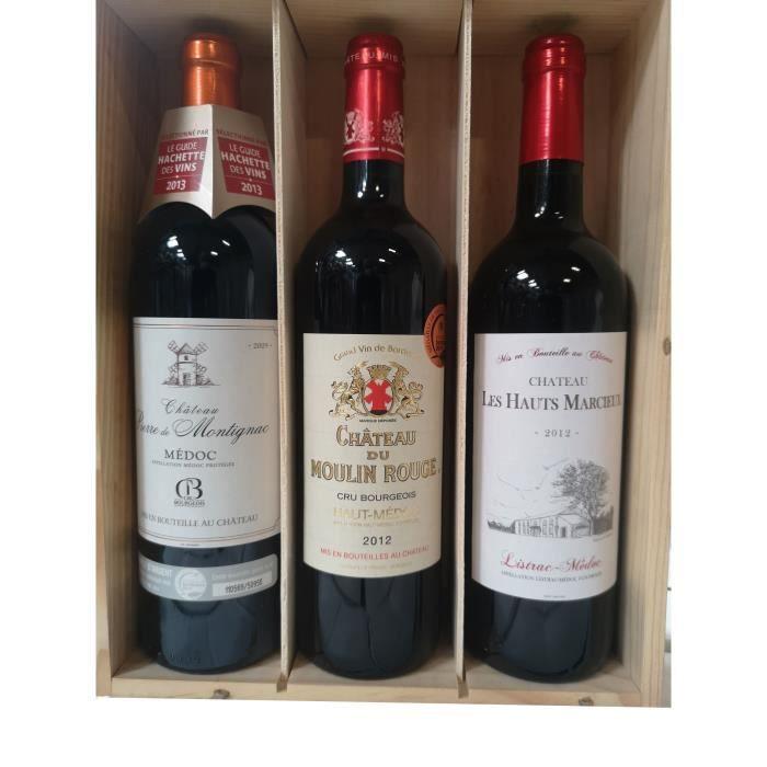 Coffret bois de 3 bouteilles de vin Médoc 75cl