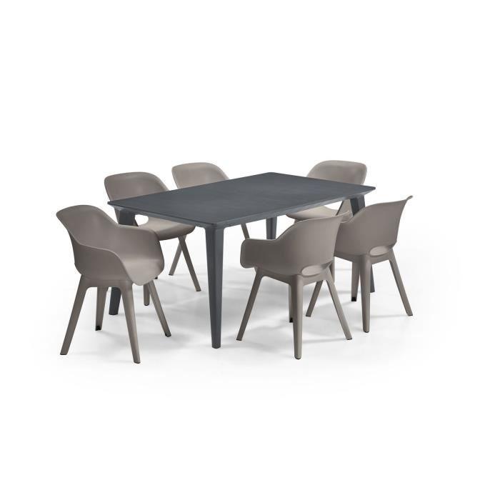 ALLIBERT JARDIN Table LIMA 160x100cm - Graphite + 6 fauteuils AKOLA Capuccinno - Résine