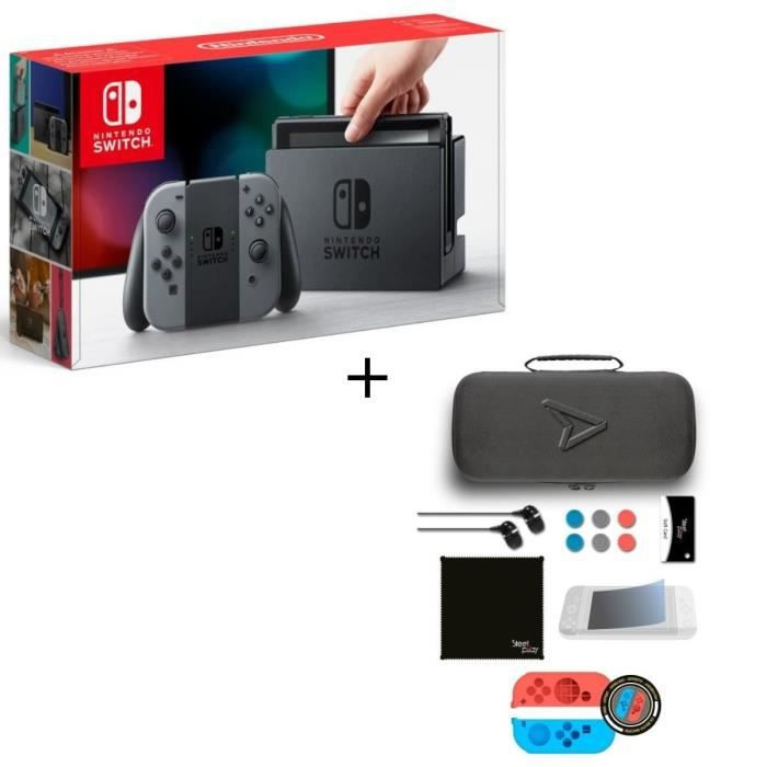 Pack Nintendo Switch Grise + Pack d'accessoires Steelplay 11 en 1