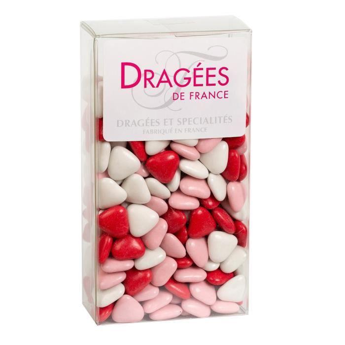 DRAGEES DE FRANCE Petits Cœurs Chocolat 70% Cacao - Couleurs : blanc, rose et rouge - Etui 250 g