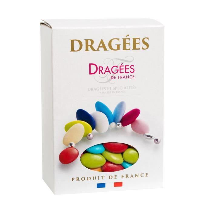 DRAGEES DE FRANCE Dragées Chocolat - Couleurs : caraibes, vert anis, vert pomme, orange, jaune soleil, rouge et fuchsia - Boîte 1 kg