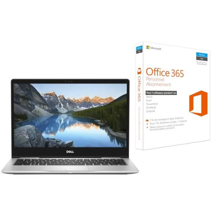 Ordinateur Ultrabook DELL Inspiron 7000 13 pouces FHD - Core i5-8250U - RAM 8Go - Stockage 256Go SSD - Windows 10 + Office 365 Perso