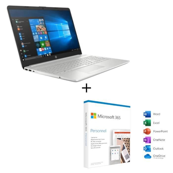 "HP PC Portable 15 dw000nf 15, 6""HD Celeron N4000-RAM 4Go-Stockage 128Go SSD-Windows 10+ Microso"