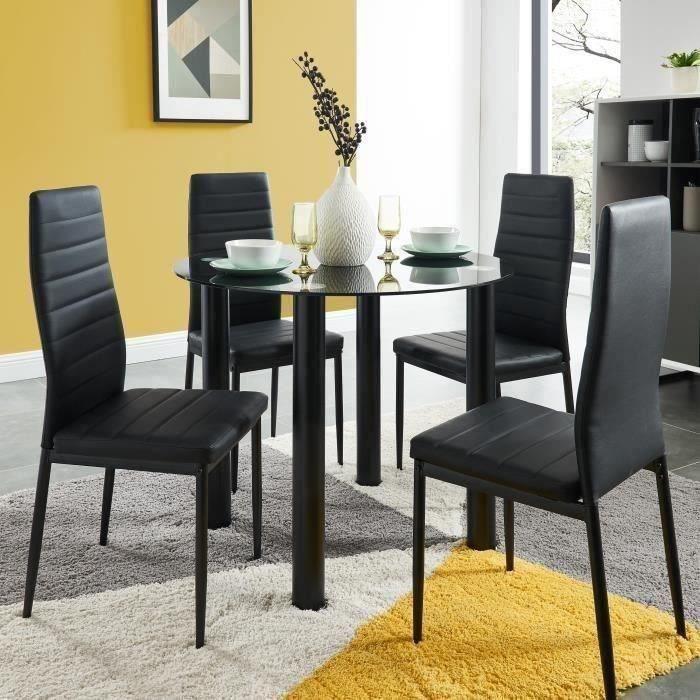 BERENICE Ensemble table à manger ronde en verre 4 personnes 90 cm + 4 chaises en simili - Noir