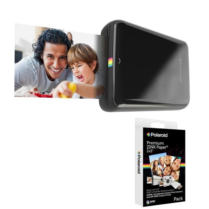 Pack POLAROID Recharge papier pour ZIP (x20p) Appareil photo instantané compact + POLAROID ZIP Noir Imprimante mobile iOS / Android