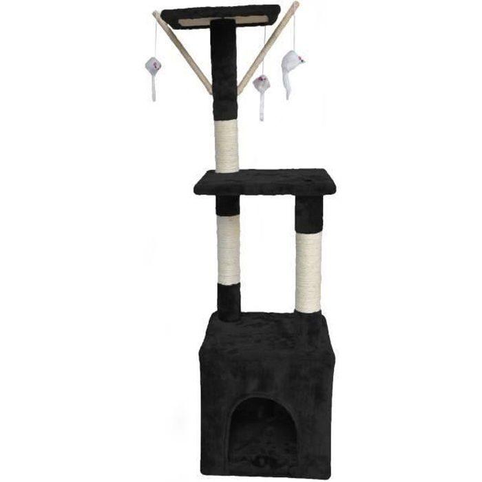 POILS & PLUMES Arbre à chat O'Malley - 30 x 30 x 110 cm - Noir