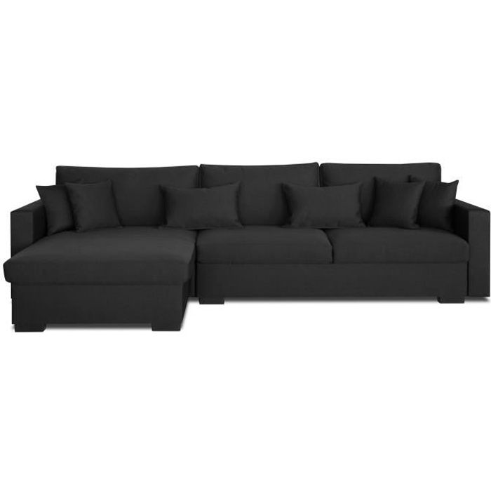 Canapé d'angle réversible 5 places - Tissu gris anthracite - Classique - L 290 x P 103 cm - MALMA