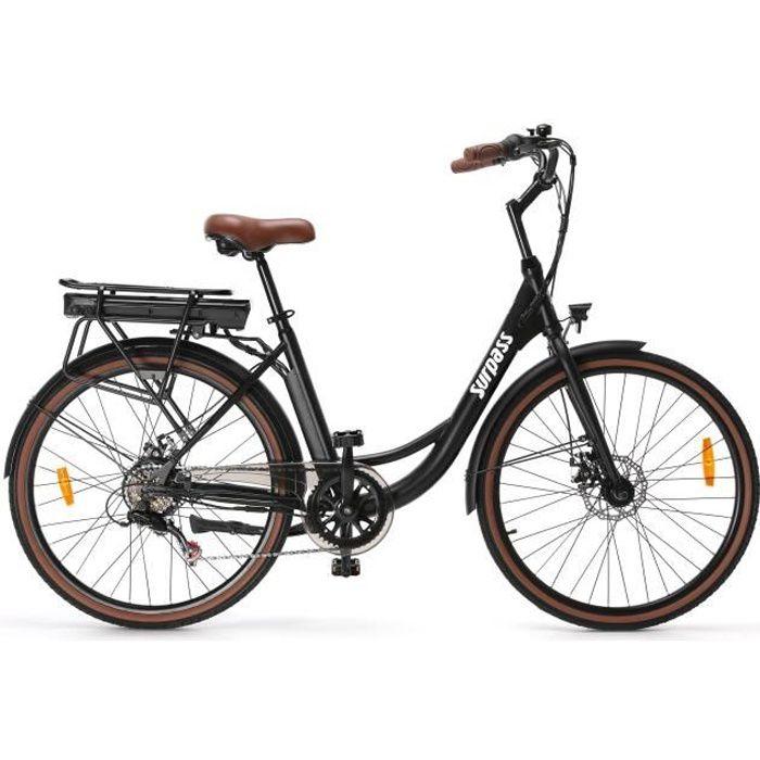 Vélo de ville électrique 26'' - Surpass - 6 vitesses Shimano - Freins à disque - 10 Ah - Noir