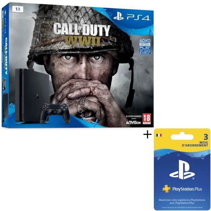 Nouvelle PS4 Slim Noire 1 To + Call of Duty World War II + Abonnement 3 mois + Qui-es-tu ? (Jeu PlayLink à télécharger)