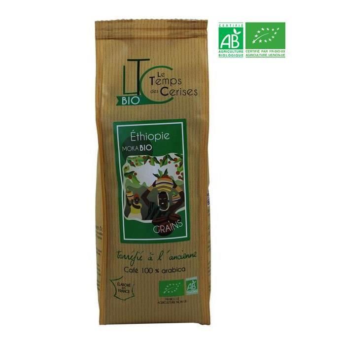 LE TEMPS DES CERISES Café en grain BIO Moka d'Ethiopie - 250 G