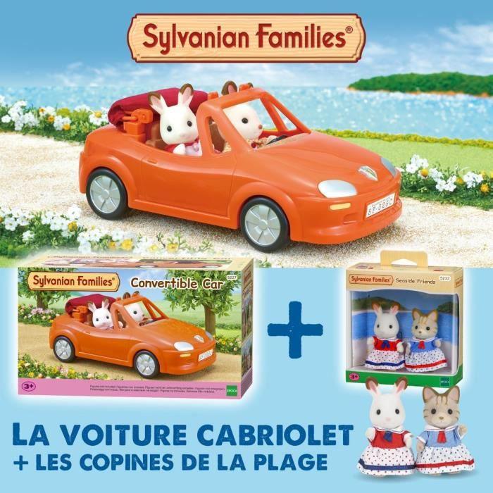 SYLVANIAN FAMILIES Voiture cabriolet 5227 + Les copines de la plage 5232 - Les véhicules
