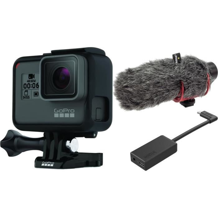 GOPRO HERO 5 Black + Microphone compact VideoMic + Adaptateur de micro 3,5 mm Pro