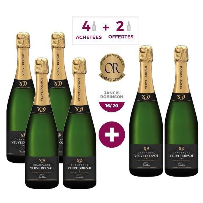 4 achetées + 2 offertes - Champagne Veuve Doussot