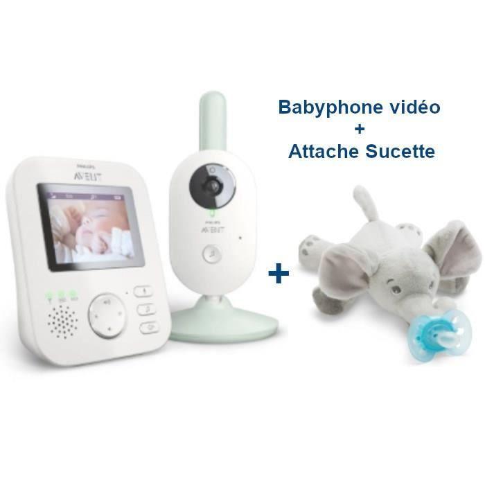 PHILIPS AVENT SCD831/26 Babyphone Vidéo + Doudou Attache Sucette