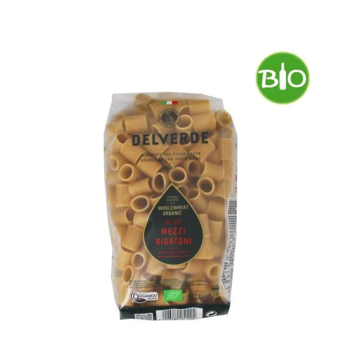 DELVERDE - Pâtes Mezzi Rigatoni à la semoule de blé dur complète - BIO - 500 G