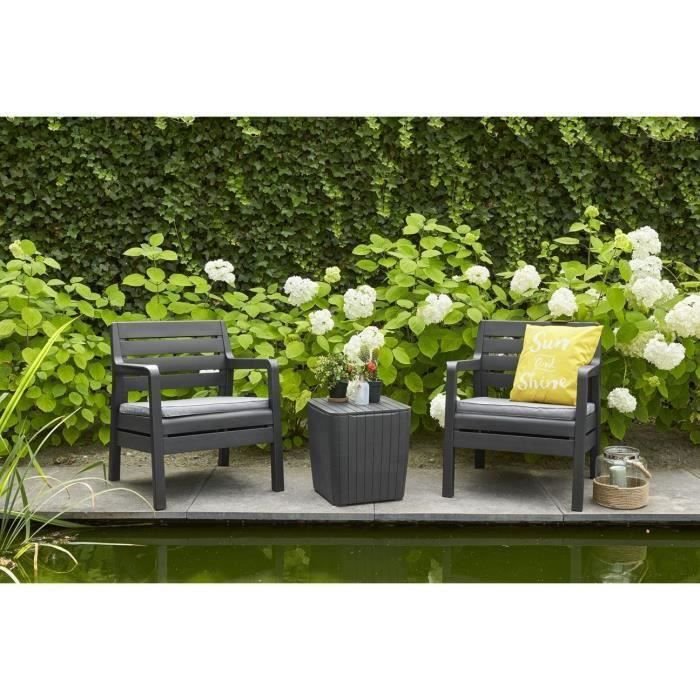 Ensemble de balcon en imitation bois ALLIBERT 2 personnes DELANO Graphite