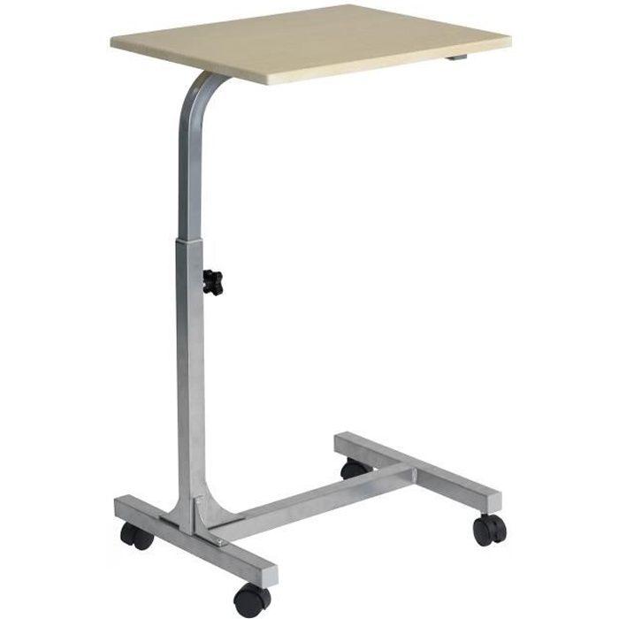 Table de lit - Ajustable en hauteur - Bois clair