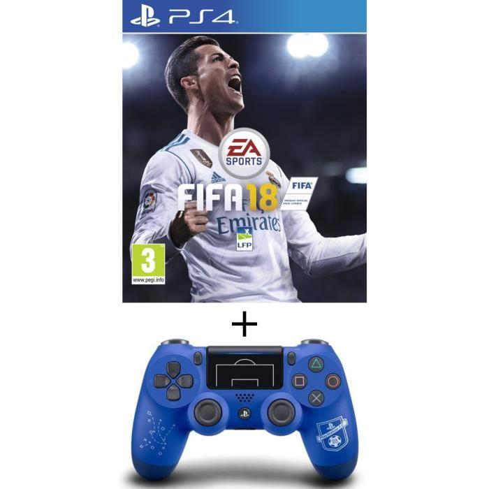 Pack FIFA 18 Jeu PS4 + Manette DualShock 4 PlayStation Football Club PS4