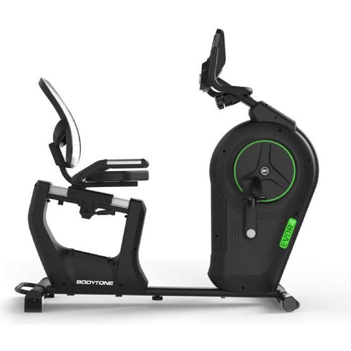 BODYTONE - Vélo Semi Allongé Auto-Alimenté - Semi professionnel - Résistance électromagnétique - Ecran LED - 13 programmes