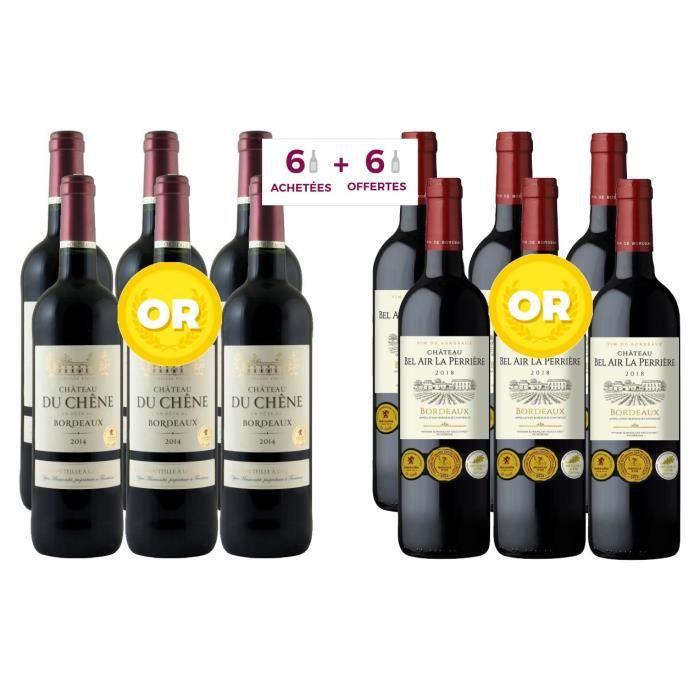 6 Château du Chêne 2014 Bordeaux ACHETEES + 6 Château Bel Air La Perrière 2018 Bordeaux OFFERTES - Vin rouge de Bordeaux