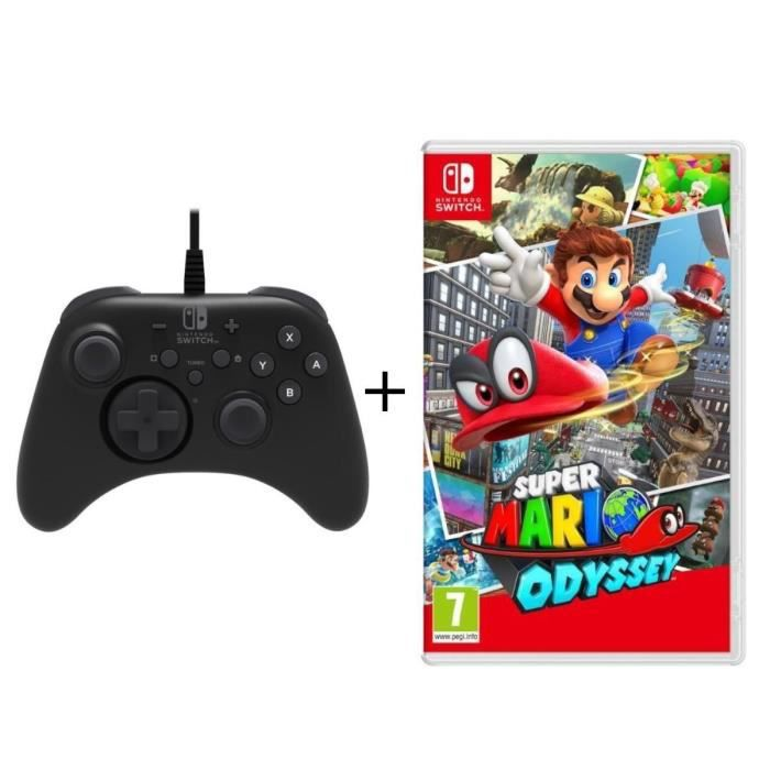 Super Mario Odyssey jeu Switch + Manette Pro Hori