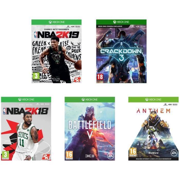 Pack de 5 Jeux Xbox One - Crackdown 3, Anthem, Battlefield V, NBA 2K18 et NBA 2K19