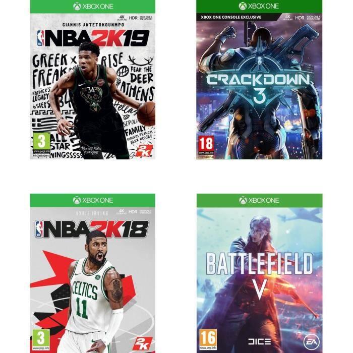 Pack de 4 Jeux Xbox One - Crackdown 3, Battlefield V, NBA 2K18 et NBA 2K19