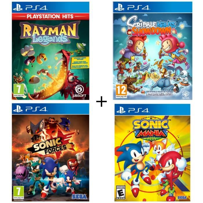 Pack 4 jeux PS4 : Rayman Legends Playstation HITS + Sonic Double Pack + Scribblenauts Showdown