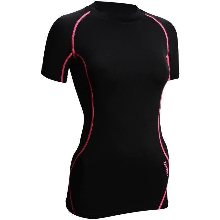 AVENTO T-Shirt de Compression - Femme - Noir et Rose