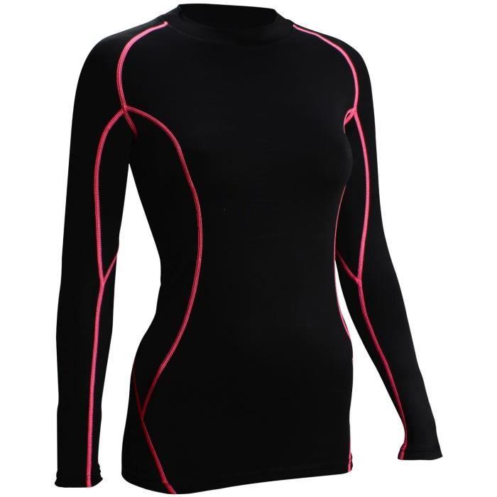 AVENTO T-Shirt de Compression 761 - Femme - Noir et Rose