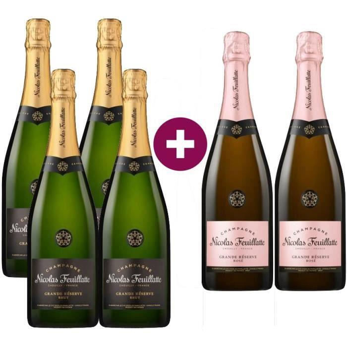 Champagne Nicolas Feuillatte La Grande Réserve - 4 bruts + 2 rosés - 6 x 75 cl