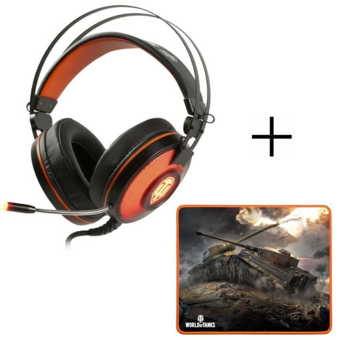 Casque Gaming PC GH-40 + tapis de Souris Gamer MP-10 Konix World Of Tanks