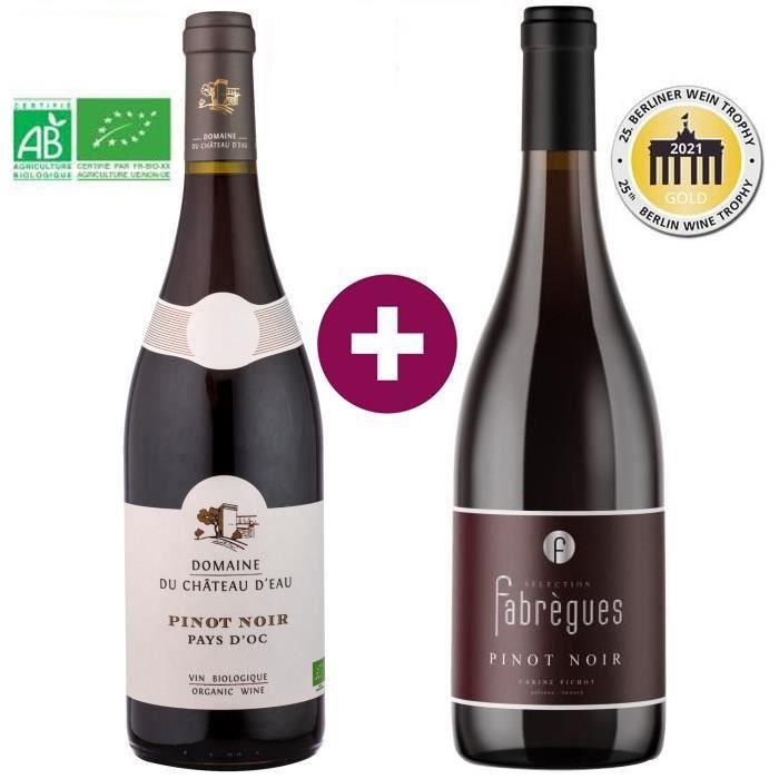 Duo des Pinot Noir du Languedoc - Domaine du Château d'Eau 2020 Pays d'Oc & Fabrègues Sélection IGP Pays d'Oc - Vin rouge - 2 x 75cl
