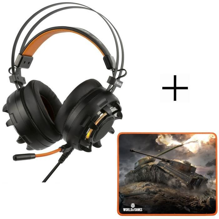 Casque Gaming PC GH-60 + tapis de Souris MP-10 Gamer Konix World Of Tanks