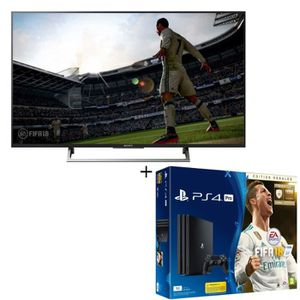 PS4 Pro Noire 1 To + FIFA 18 Edition Ronaldo + TV LED SONY HDR 139 cm (55'') - KD55XE7005BAEP - Smart TV - 3 X HDMI
