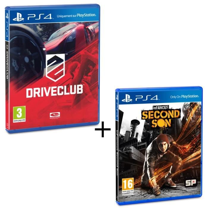 Pack Drive Club + Infamous Second Son Jeux PS4
