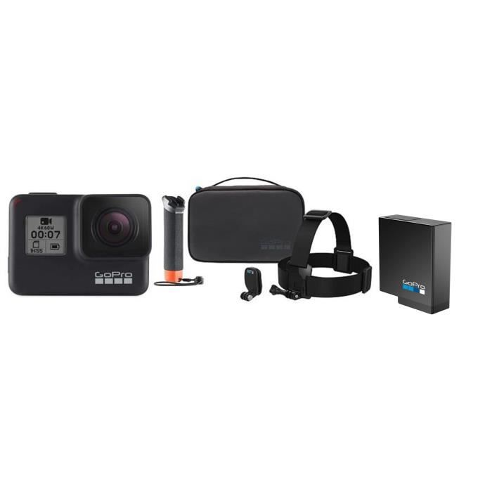 GOPRO HERO7 BLACK Caméra de sport Action Cam + Kit caméra Adventure Kit + Batterie de recharge