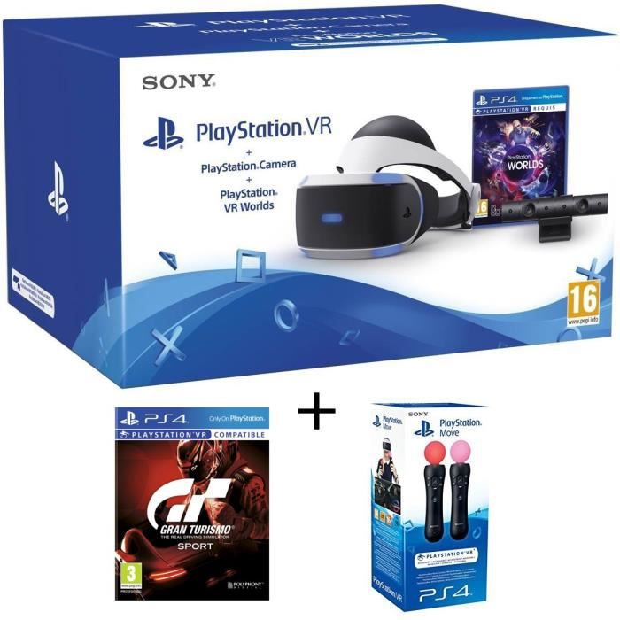 PlayStation VR + PlayStation Caméra + 2 Jeux PS4 : VR Worlds + Gran Turismo Sport + Paire de PlayStation Move