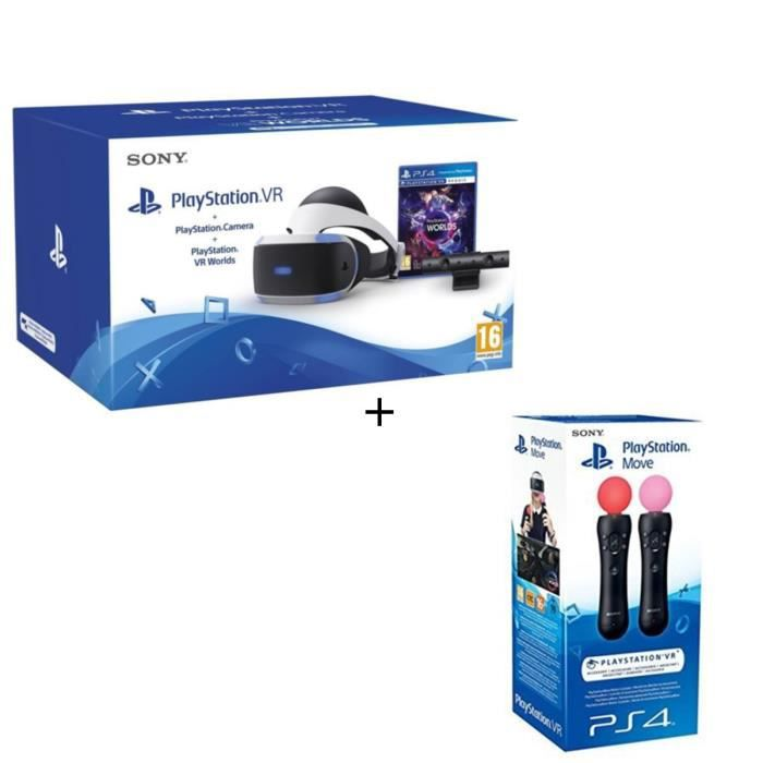 PlayStation VR + PlayStation Caméra + VR Worlds (Voucher) + Paire Manette de détection de mouvements PlayStation Move