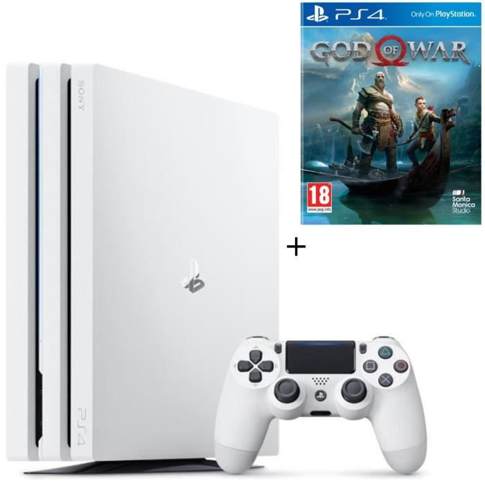 Pack PS4 Pro 1To Blanche + God of War Jeu PS4