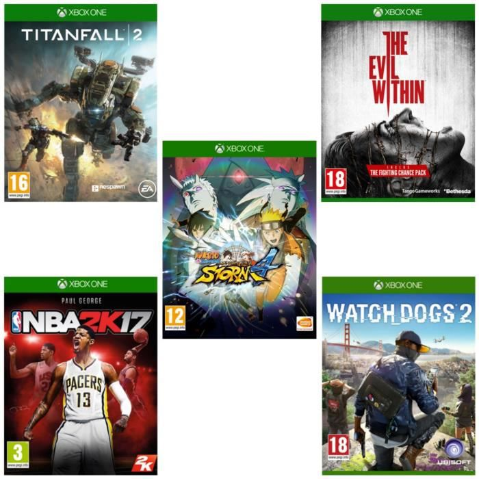 Pack de 5 jeux XBOX ONE : TITANFALL 2 + Naruto Storm 4 + The Evil Within + NBA 2K17 + Watch Dogs 2