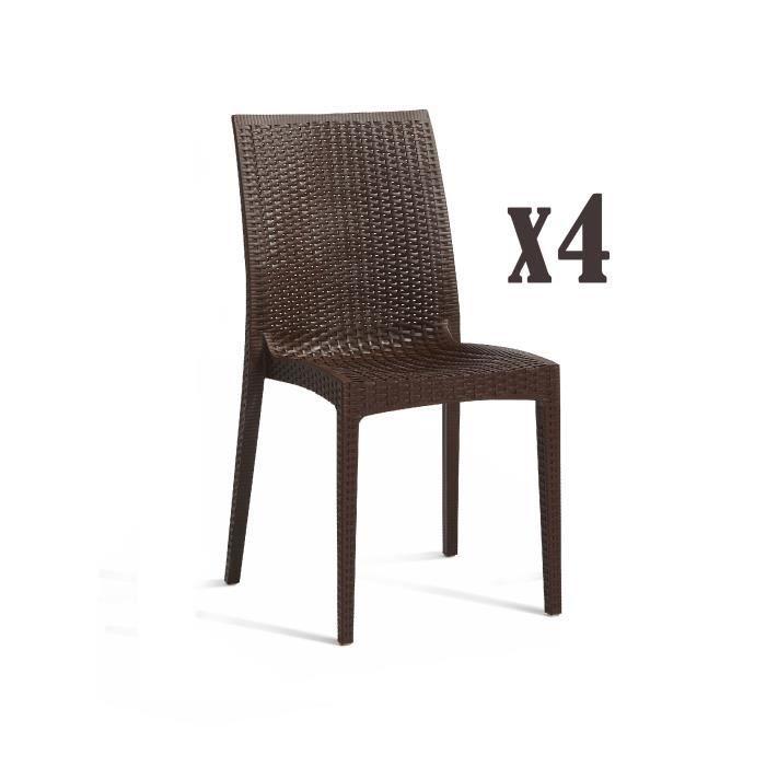 DCB GARDEN Lot de 4 chaises empilables en PVC Cagliari - Marron chocolat