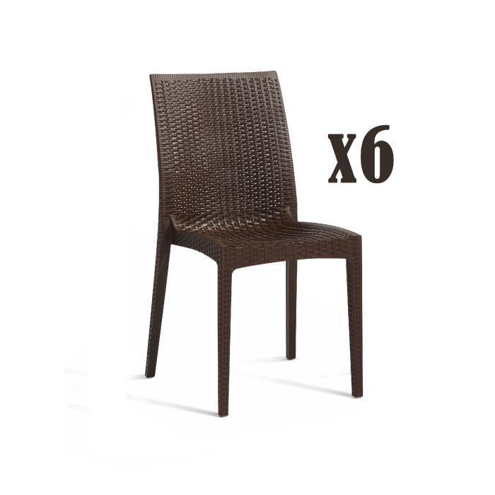 DCB GARDEN Lot de 6 chaises empilables en PVC Cagliari - Marron chocolat