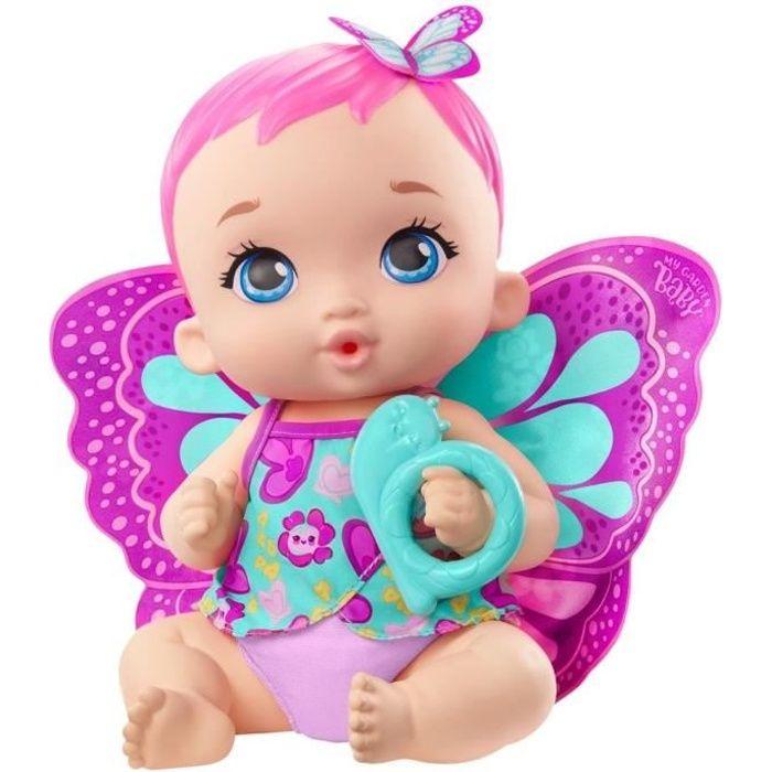 My Garden Baby - Bébé Papillon Rose Boit et Fait Pipi 30 cm, couche réutilisable, tenue, ailes amovibles - Poupon - Dès 2 ans