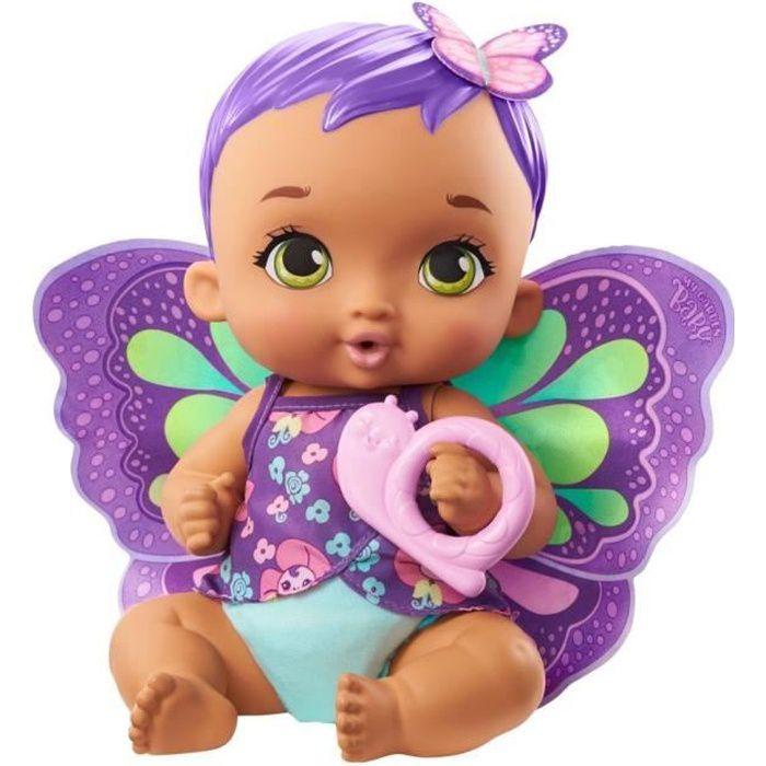 My Garden Baby - Bébé Papillon Violet Boit & Fait Pipi, 30 cm, couche, vêtements, ailes amovibles - Poupée / Poupon - Dès 2 ans