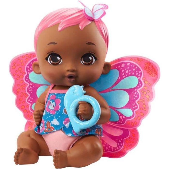 My Garden Baby - Bébé Papillon Corail Boit et Fait Pipi, 30 cm, couche, vêtements et ailes amovibles - Poupée / Poupon - Dès 2 ans