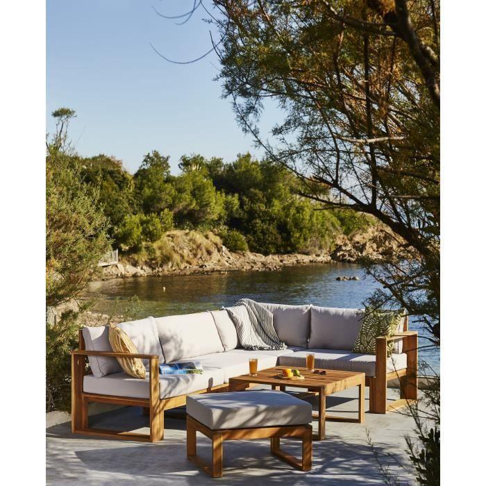 Salon de jardin en bois d'acacia FSC - 5 personnes - LEVATA OTTOMAN - Avec table convertible - Coussins gris perle