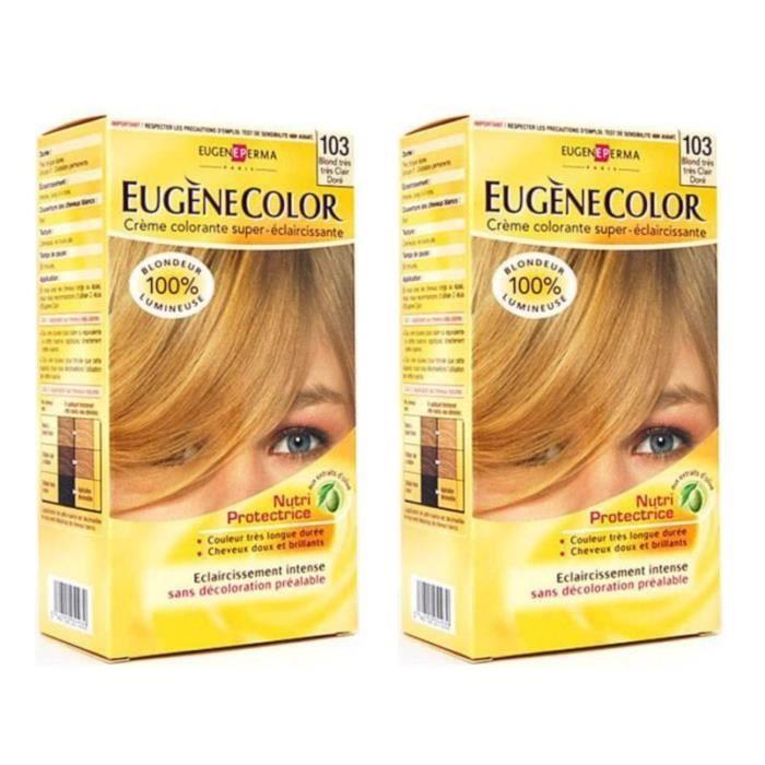 LOT DE 2 - EUGENE COLOR Crème Colorante permanente N103 Blond très clair Doré